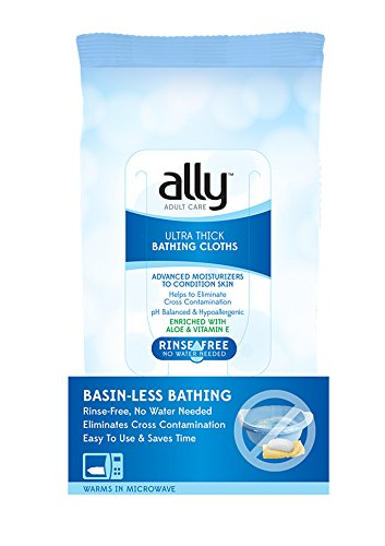 Ally Ultra Thick Adult Bathing Cloths  Rinse Free   Microwaveable   Hypoallergenic  96 Count  12 Packs Of 8 Wipes