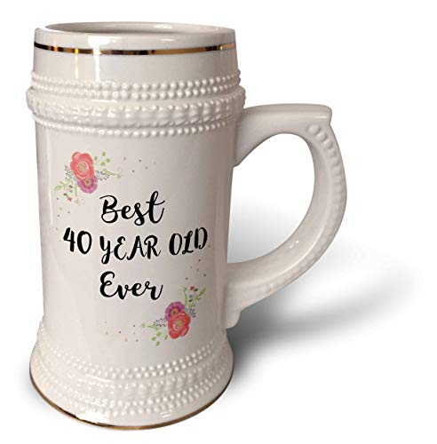 3dRose InspirationzStore - Love Series - Floral Best 40 Year Old Ever pink flowers cute 40th Birthday Girl Gift - 22oz Stein Mug (stn_316154_1)