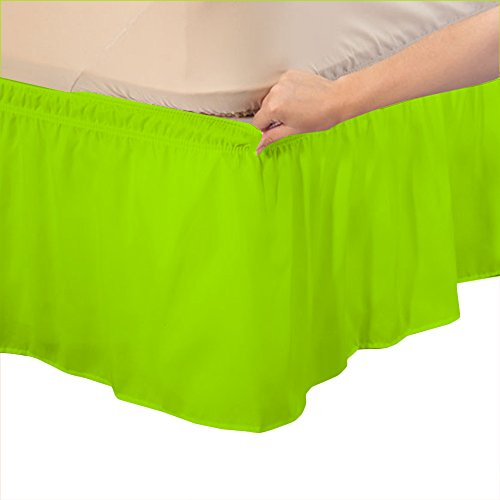 (Relaxare Cal Queen 300TC 100% Egyptian Cotton Parrot Green Solid 1PCs Wrap Around Bedskirt Solid (Drop Length: 11 inches) - Ultra Soft Breathable Premium Fabric )