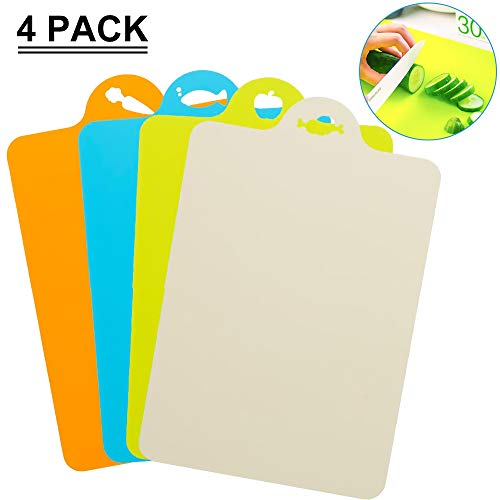 SAYGOGO Plastic Cutting Board Mat, Bendable and Wearable Soft Classification Cutting Board, Non-Slip Anti-Leakage Juice,Can be Hung,Set of - Chopping Mats 4