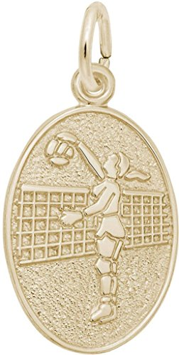 (Rembrandt Volleyball Player Oval Charm - Metal - 10K Yellow Gold)