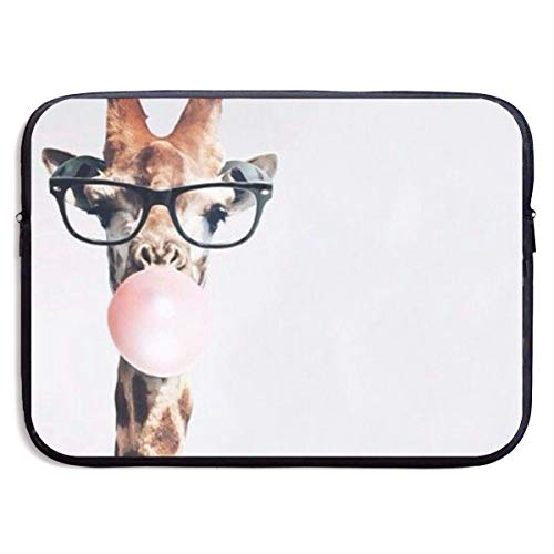 Custom Laptop Sleeve 13/15 Inch Ultrabook Zipper Briefcase Giraffe Blows Bubbles Print Portable Messenger Bag