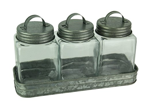 Lidded Canister - Audrey's Metal & Glass Canisters Rustic Farmhouse Metal Tray With 3 Lidded Glass Storage Canisters 11.5 X 6.75 X 4 Inches Silver