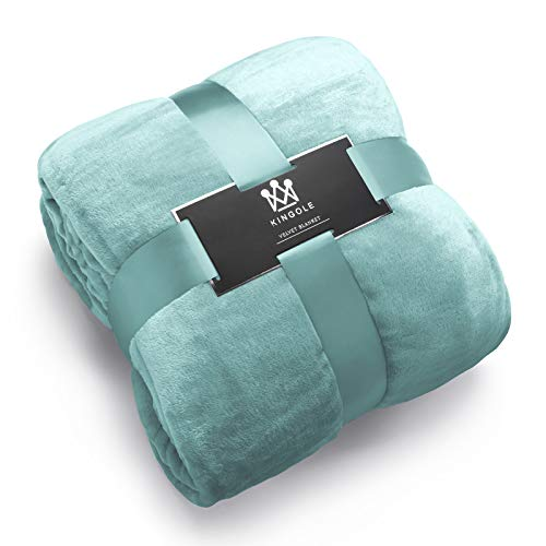 Kingole Flannel Fleece Microfiber Throw Blanket, Luxury Celadon Queen Size Lightweight Cozy Couch Bed Super Soft and Warm Plush Solid Color 350GSM (90