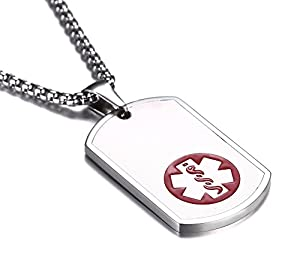 JF.MED Stainless Steel Matte Dog Tag Medical Alert ID Necklace for Women Men 20-24 inch-Free Engraving