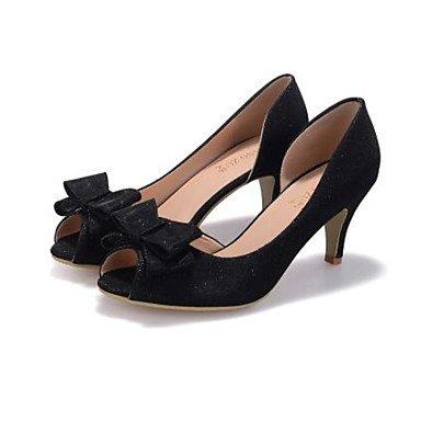 LvYuan Mujer Sandalias Confort Cuero Nobuck Seda Primavera Casual Confort Negro Plata Morado Plano Black