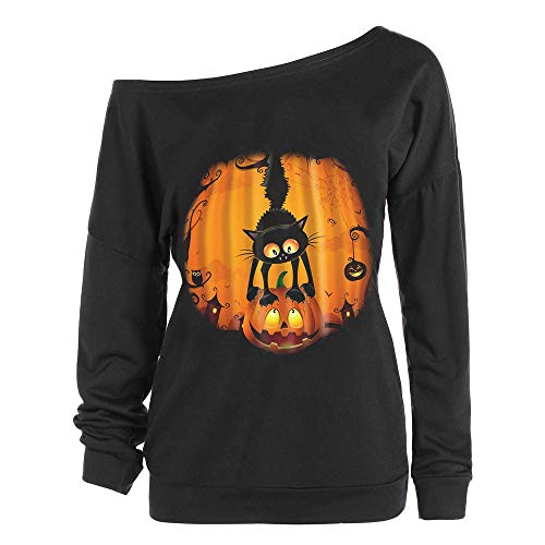 TWGONE Womens Tops Halloween Print Long Sleeve Sweatshirt Pullover Tops Polyester Blouse Shirt(US-12/CN-2XL,Black)