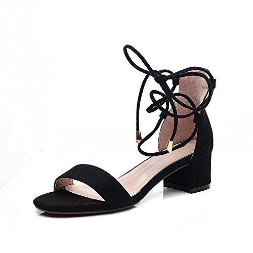Strappy Cheville Cm noir Bloc Sandales Heel Peep à Height de Toe Femmes 7 Bride Talon Chaussures Ruiren Soirée la Dames wnYxPnq