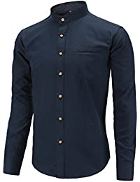 Men's Long Sleeve Banded Collar Oxford Dress Shirt with Pocket