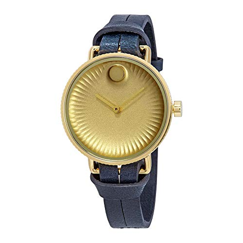 Movado Edge Gold Dial Blue Leather Strap Ladies Watch 3680036