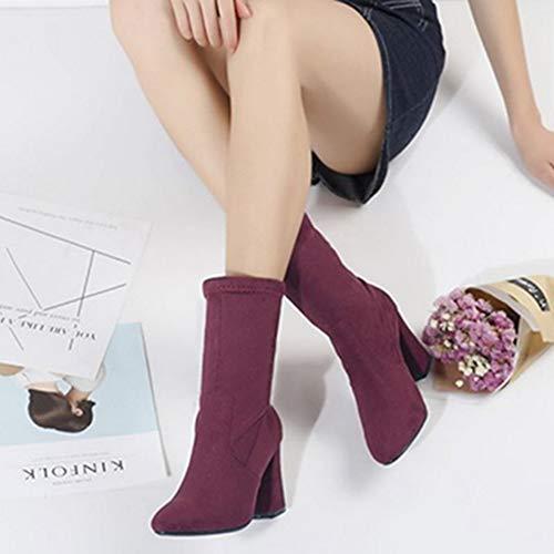 Mid Boots Calf Heel Sjjh Chunky Burgundy Women w4xHzH