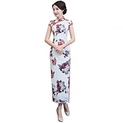 (Woman Ancient Pure Silk Printing Embroidery Cheongsam Chinese Qipao Prom Evening Dress(Small,Flower)
