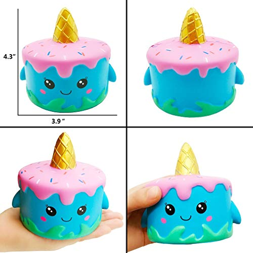 Yonishy Unicorn Squishies Toy Set - Jumbo Narwhale Cake,Unicorn Cake,Unicorn Donut,Dog,Unicorn Horse,Ice Cream Cat Kawaii Slow Rising Squishy Toys for Kids Party Favors(6 Packs) by Yonishy (Image #1)