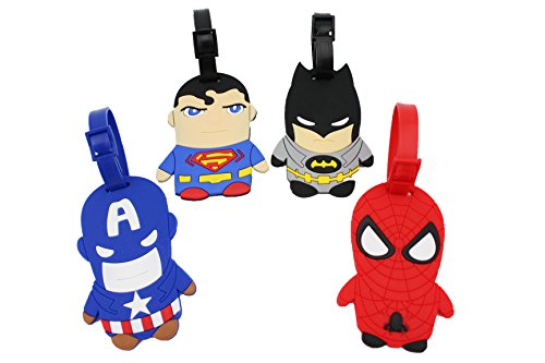 Finex Set of 4 - Batman vs Superman Avengers Travel Luggage ID Tag Bags Suitcases with Adjustable Strap