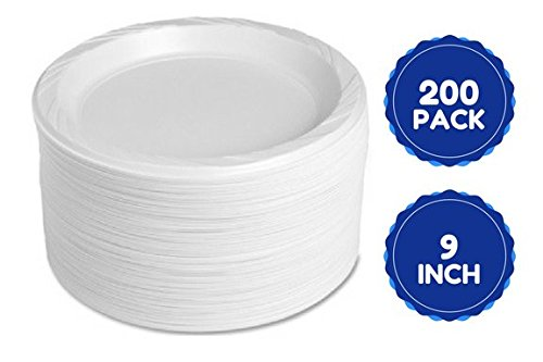 Disposable White 9 Inch Plastic Plates For Main Dish, Salad, Dinner Lunch, Arts And Crafts And Everyday Use 200 Ct by HomeyGear
