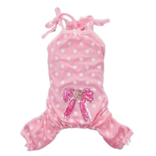 Cozy Pink Ploka Dots Dog Pajamas for Dog Shirt Cute Dog Clothes Pet Shirt Free Shipping,Light Pink,M, My Pet Supplies
