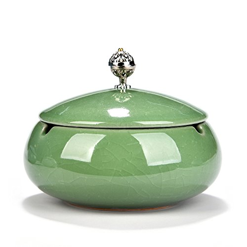 Huayoung Ceramic Round Ashtray with Lid Beautiful Cigar Ashtray for Home & Office (Green-B)