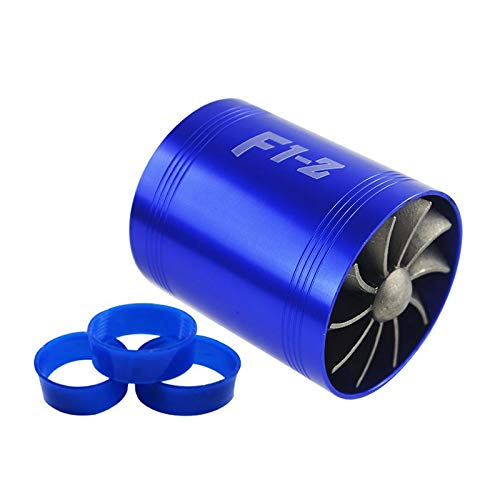 Supercharger Turbo - PTNHZ RACING F1-Z Double Car Supercharger Turbine Turbo Charger Air Intake Gas Fuel Saver Fan Blue
