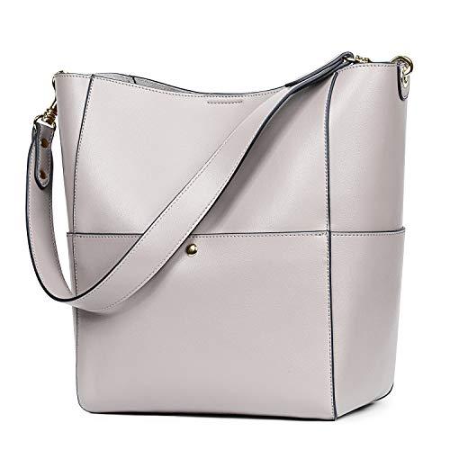 S-ZONE Women's Vintage Leather Bucket Tote Shoulder Bag Hobo Handbag Purse (Grey-Upgraded Version)