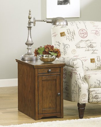 Signature Design by Ashley Power Chair Side End Table, Light Brown