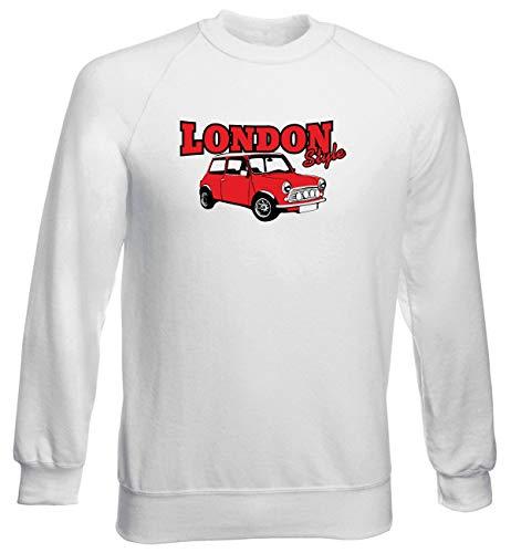 Uomo Girocollo Cooper Felpa Auto Motori Moto Style Mini Bianca Shirt T0159 Speed London Eq4Awtxnz