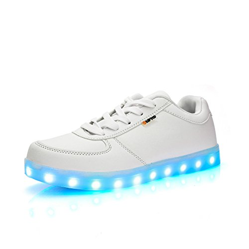 KIPTOP Unisex 7 Flashing Color LED Shoes USB Rechargeable Light Sneakers Trainers White QzGhPB