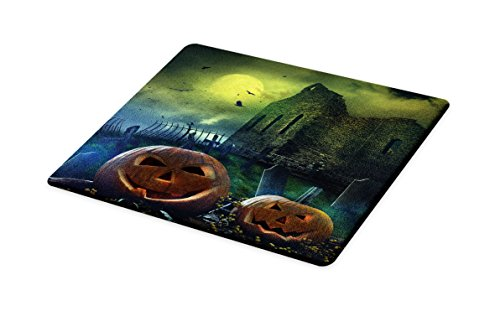 Lunarable Halloween Cutting Board, Pumpkin in Spooky Grave Old Stone Haunted House Gloomy Dark Night Winter Holiday, Decorative Tempered Glass Cutting and Serving Board, Small Size, Grey Yellow