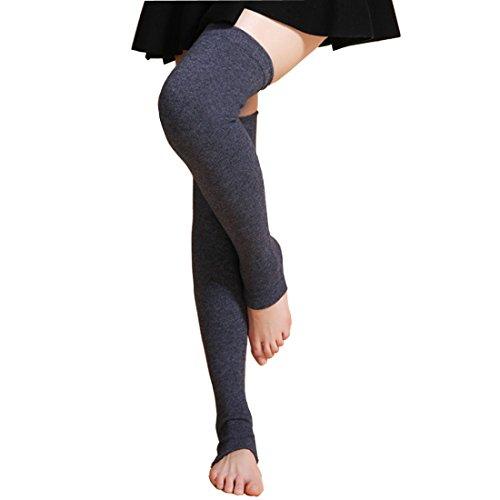 LerBen Womens Warm Cashmere Leg Warmers Long Soft Knee High Legging Socks, Gray