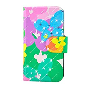 Generic Rhinestone Colorful Flower Butterfly Design Card Slot Magnetic PU Leather Flip Case Cover Compatible For Huawei T8500