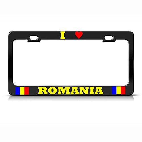 I Love Romania Metal License Plate Frame Romanian Flag Pride Tag Border Black Perfect for Men Women Car garadge Decor