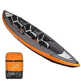 AA-PHUJ DMUC Kayak gonflableYukon, canoë Canadien pour 3 Hommes, Kayak de mer avec Sac, 382x 108 cm