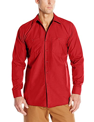 Red Kap Men's Industrial Work Shirt, Regular Fit, Long Sleeve, Red, Small
