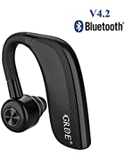 Bluetooth V4.2 Headset Handsfree Business Wireless Sport Earpiece for iPhone 25Hours Continuous Talking Time One Earbud Comfortable Siri Function for Meetings Driving(700 hours standby time)