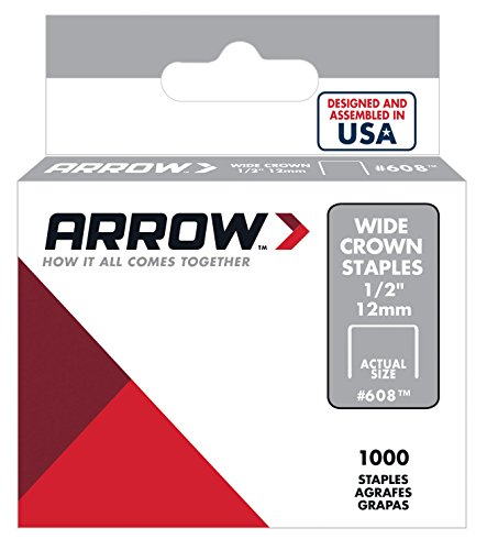 Arrow Fastener 608 Wide Crown Swingline Style Heavy Duty 1/2-Inch Staples, 1000-Pack