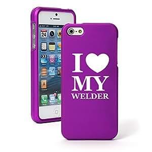 Apple iPhone 4 4s Snap On 2 Piece Rubber Hard Case Cover I Heart Love My Welder (Purple)