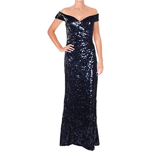 LAUREN RALPH LAUREN Womens Hickory Sequined Full-Length Evening Dress Navy 2
