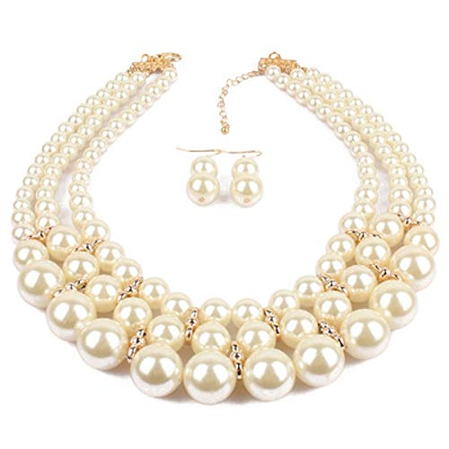 ELFTUNE White Round Faux Pearls Collar Women Short Choker Multilayer Fashion Necklace Female Party Dress Jewelry