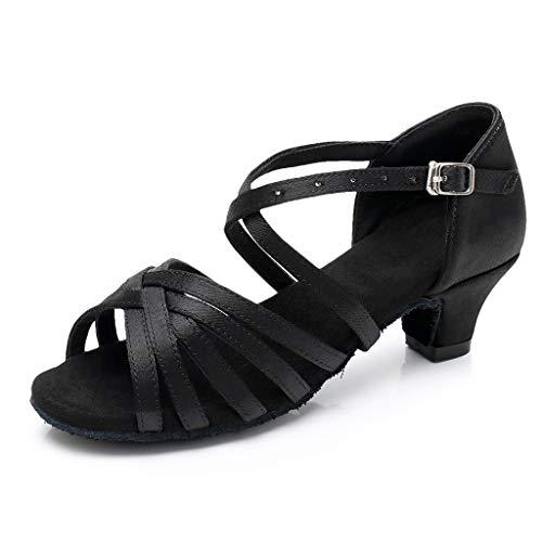 WENSY Women Casual Latin Tango Dance Shoes Dance Shoes Practice Shoes Princess Shoes Solid Color Single Shoes Sandals(Black,38)