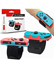 Wristbands for Nintendo Switch Just Dance 2020 2021 and Zumba Burn It Up, 2Pack Comfortable Easy Using Adjustable Elastic Wrist Straps for Joy-Con Controller, Two Size Band for Adults and Kids