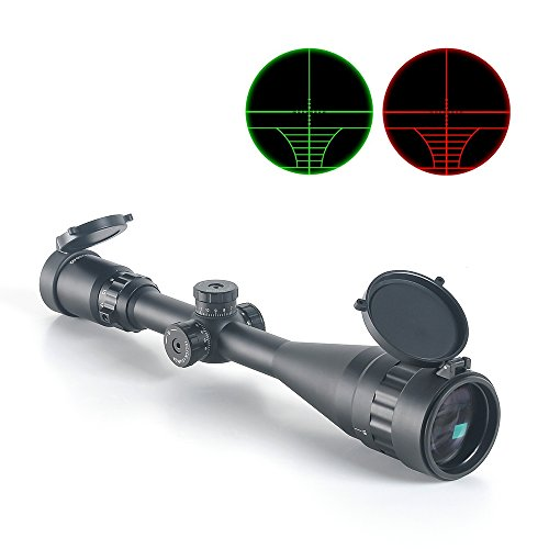 Rifle Scope, CRELAND 6-24 X 50 AOE Optical Hunting Rifle Scope Red/Green Illuminated Gun Scope with Free Mounts and Flip Up Scope Covers