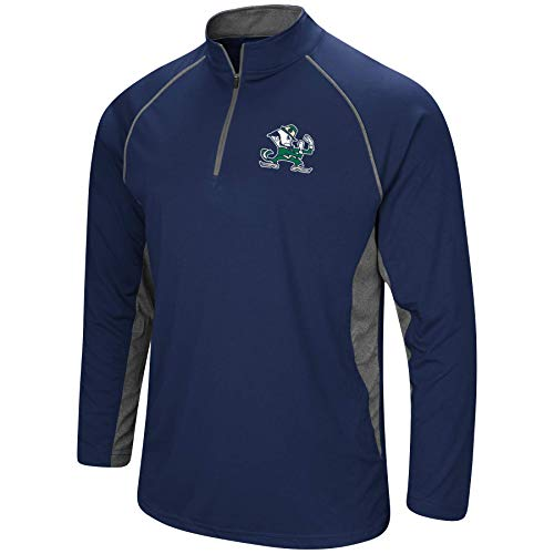 Colosseum Men's NCAA-Rival-1/4 Zip Pullover Windshirt (Notre Dame Fighting Irish-Navy with Leprechaun, Large)