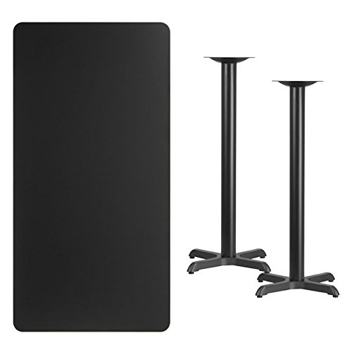 30'' x 60'' Black Laminate Table Top With Base - Bar Height Restaurant Table by Flash