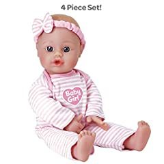 """Sweet Baby Girl is the perfect petite baby doll for little ones to hold, play with and love! This cute mini baby is 11"""" tall with a soft and cuddly body and fresh baby powder scented vinyl. Her sweet adorable face, bright blue eyes and light ..."""