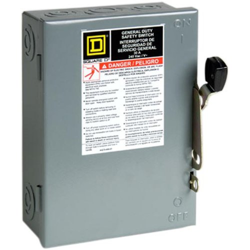Switch D Duty Heavy Safety Square - Square D by Schneider Electric D321NCP 30-Amp 240-Volt Three-Pole Indoor General Duty Fusible Safety Switch with Neutral