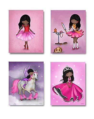 African American Girls Set of 4 Posters Wall Art Decor Artwork for Kids Bedroom or Nursery Unframed Prints 8x10 Inches Dark skin Black Hair (African American Ballet Poster)