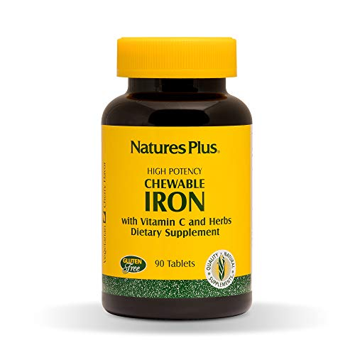 Natures Plus Chewable Iron - 27 mg, 90 Chewable Tablets - High Potency Supplement with Vitamin C & Herbs, Promotes Healthy Blood, Natural Energy - Vegetarian, Gluten Free - 90 Servings