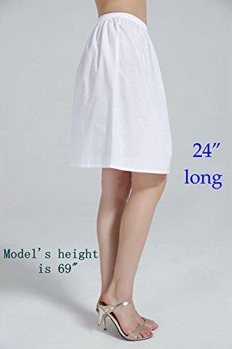 70cm 50cm Bianca Donna Nera Mezza Nero 80cm Sottoveste Beautelicate 60cm Avorio Lunga Cotone Sottogonna Per Ragazza 40cm qXRw6yy7