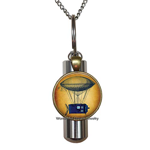 Waozshangu Steampunk Flying Tardis Cremation URN Necklace Art Picture Glass Dome URN Women Fashion Jewelry Christmas Friendship,PU253