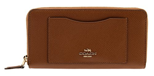 Coach Crossgrain Leather Accordion Zip Wallet in Saddle, F54007 - Usa Coach Outlet Sale