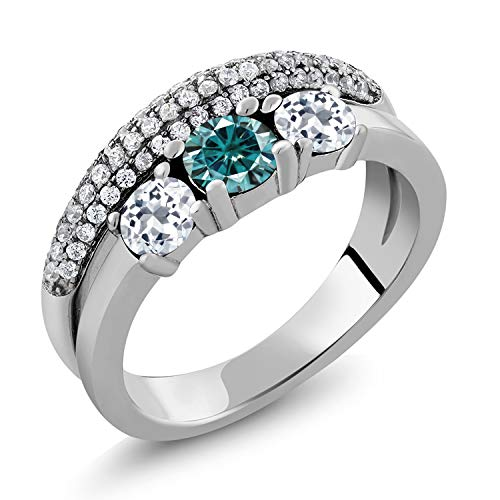 1/2 Ct Blue Topaz Ring - Gem Stone King 925 Sterling Silver Solitaire w- Accent Stones Ring Round Blue Created Moissanite and Topaz White 0.50ct (DEW) (Size 5)
